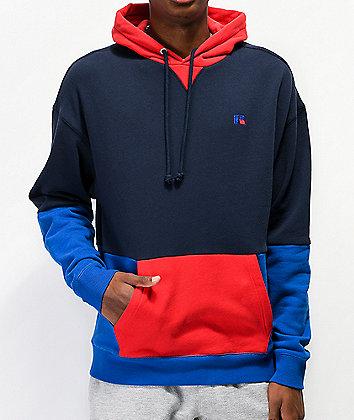 Russell Athletic Miller Colorblock Blue, Navy & Red Hoodie