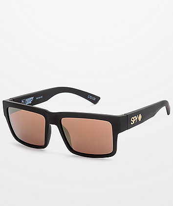 SPY Montana Soft Matte Black & Gold Happy Lens Sunglasses