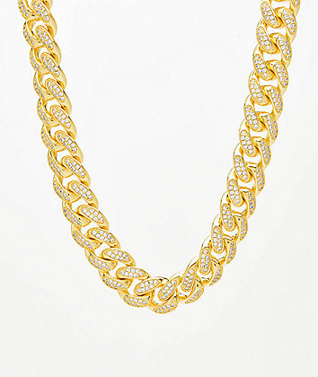 "Saint Midas 18mm CZ Cuban Link 22"" Yellow Gold Chain Necklace"