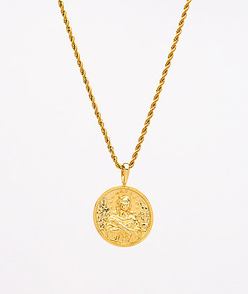 "Saint Midas Mary Immaculate Yellow Gold 20"" Rope Chain Necklace"