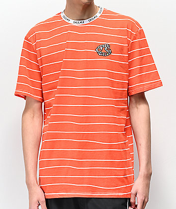 Salem7 Brace Fang Orange & White Striped T-Shirt