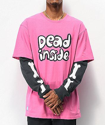 Salem7 Dead Inside Pink & Black Long Sleeve T-Shirt