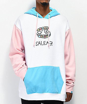 Salem7 Fang Colorblock Pink & Cream Hoodie