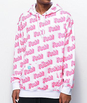Salem7 Fuck! Allover Print White & Pink Hoodie