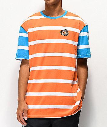 Salem7 Jeffery Orange, Blue & White Stripe T-Shirt
