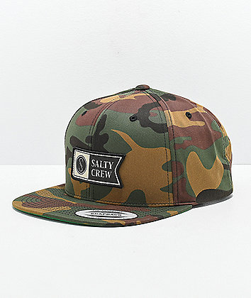 Salty Crew Alpha Stamped Camo Snapback Hat