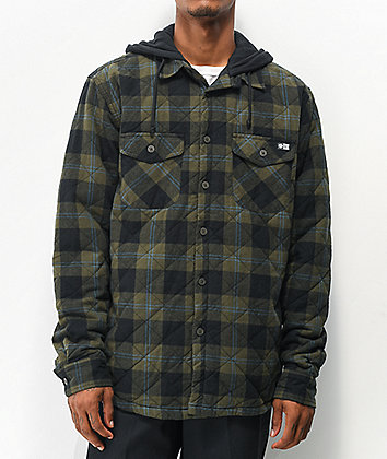 Salty Crew Dock Olive Hooded Flannel Shirt