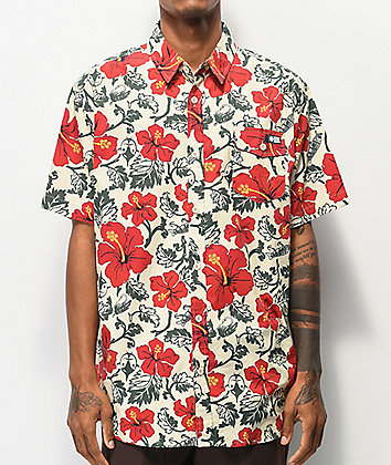 Salty Crew Hooked White Woven Short Sleeve Button Up Shirt