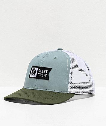 Salty Crew Pinnacle Retro Mist & Olive Trucker Hat