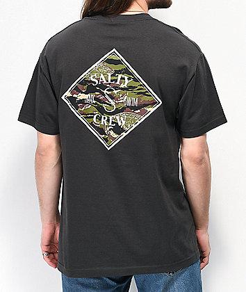 Salty Crew Tippet Camo & Tar Black T-Shirt