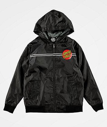 Santa Cruz Boys Classic Dot Black Windbreaker Jacket