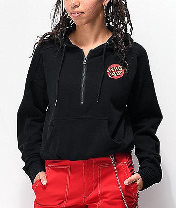 Santa Cruz Classic Dot sudadera con capucha negra con media cremallera
