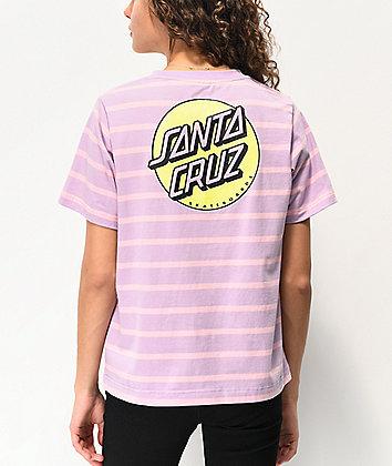 Santa Cruz Missing Dot camiseta lila y rosa de rayas