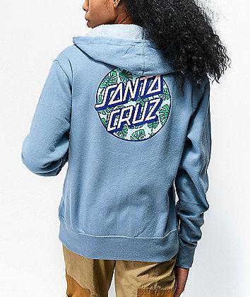 Santa Cruz Monstera Dot Misty sudadera con capucha azul