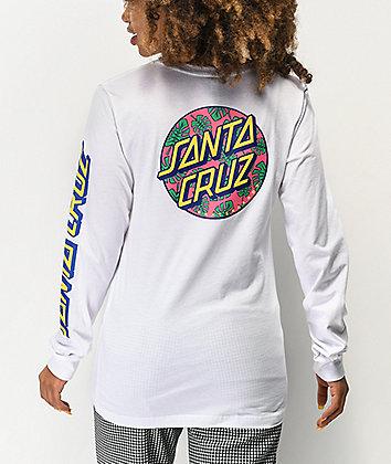 Santa Cruz Monstera Dot White Long Sleeve T-Shirt