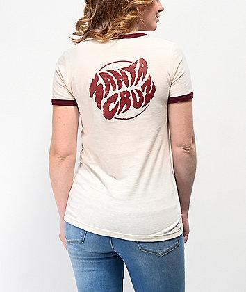 Santa Cruz Surge Dot Natural Ringer T-Shirt
