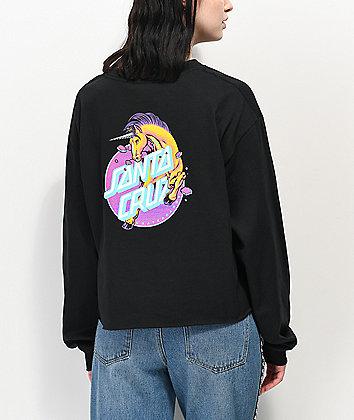 Santa Cruz Unicorn Dot camiseta corta negra de manga larga