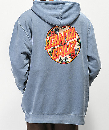 Santa Cruz Vacation Dot Blue Pigment Dyed Hoodie