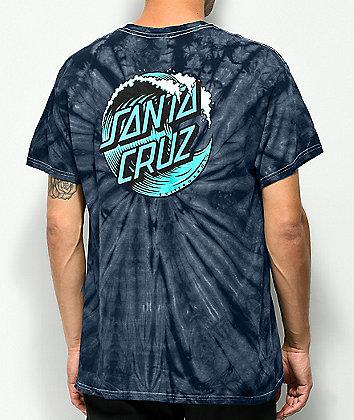 Santa Cruz Wave Dot camiseta tie dye azul marino