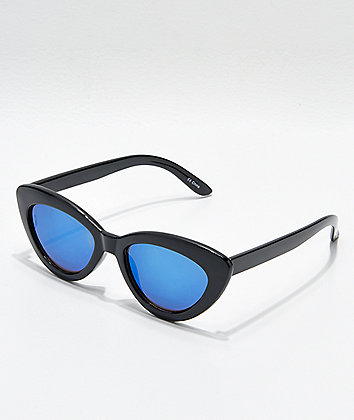 Shiny Black & Blue Mirror Cat Eye Sunglasses