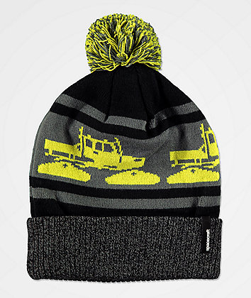Spacecraft Snow Cat Lime & Grey Pom Beanie