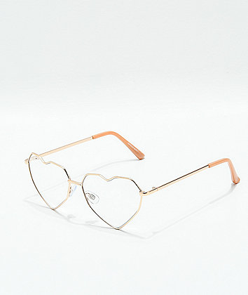 Spectrum Rose Gold Heart Clear Glasses