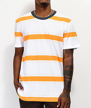 Stance Boyd White, Orange & Gold Stripe T-Shirt