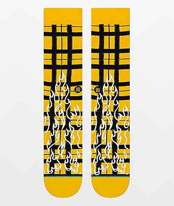Stance Burning Up Yellow & Black Crew Socks