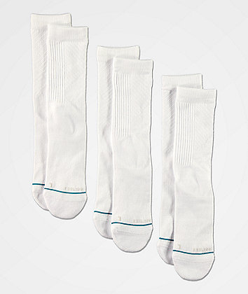 Stance Prime White 3 Pack Crew Socks