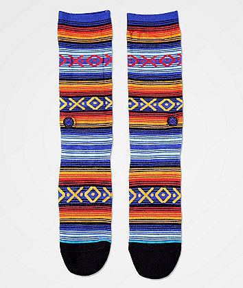 Stance Slap Stick Blue, Burgundy & Brown Striped Crew Socks