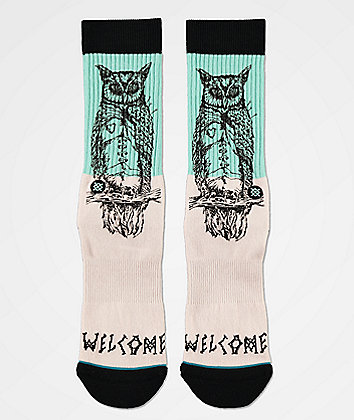 Stance x Welcome Owl Be Watching Pink & Mint Blue Crew Socks