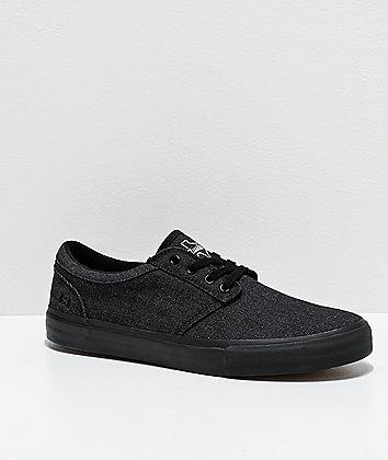 State Elgin Austin Black & Black Denim Skateboard Shoes