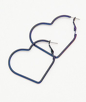 "Stone + Locket 2"" Iridescent Heart Hoop Earrings"