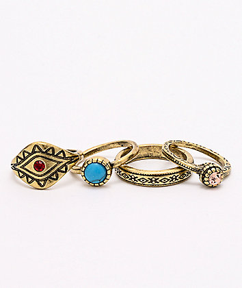 Stone + Locket 4 Pack Multi Stone Rings