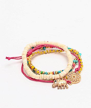 Stone + Locket Beaded Elephant Bracelet 4 Pack