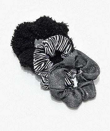 Stone + Locket Dark Zebra 3 Pack Scrunchies
