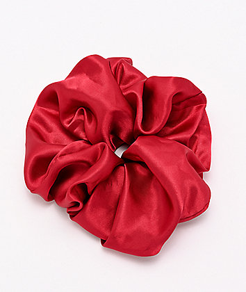 Stone + Locket Deep Red Giant Scrunchie