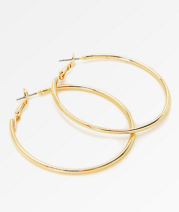 Stone + Locket Gold Hoop Earrings