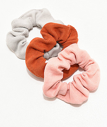 Stone + Locket Grey, Pink & Red 3 Pack Scrunchies