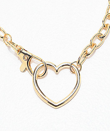 Stone + Locket Heart & Clasp Gold Necklace