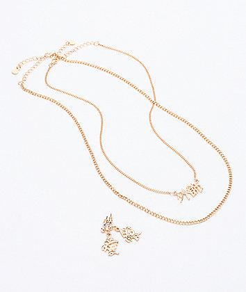 Stone + Locket Kanji Nameplate Gold 3 Pack Necklace & Earrings