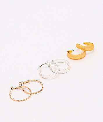 Stone + Locket Metal Multi 3 Pack Hoop Earrings