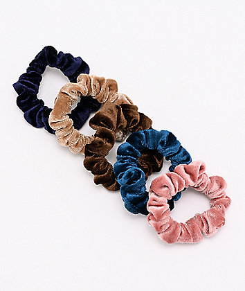 Stone + Locket Mini Velour 5 Pack Scrunchies