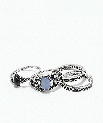 Stone + Locket Oval Crystal Rings 4 Pack