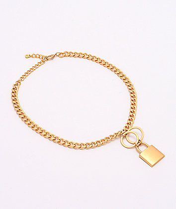 Stone + Locket Padlock Brushed Gold Necklace