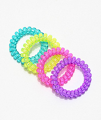 Stone + Locket Phone Cord Multicolor 4 Pack Hair Ties