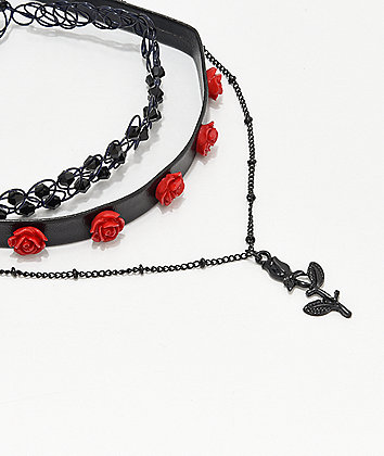 Stone + Locket Red Rose 3 Pack Choker