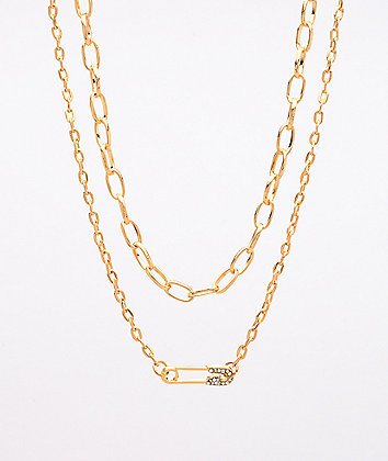 Stone + Locket Safety Pin Gold 2 Pack Necklaces