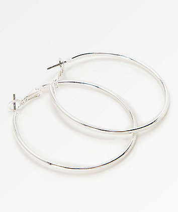 Stone + Locket Silver Hoop Earrings