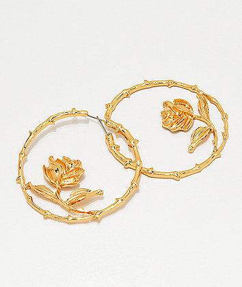 Stone + Locket Thorny Rose Gold Hoop Earrings